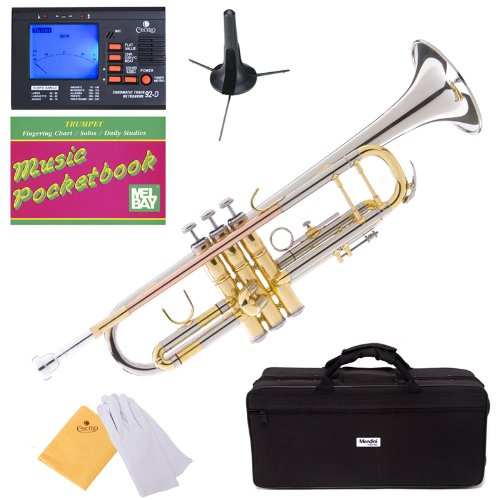 Mendini MTT-30CN Nickel Plated Intermediate Double-Braced Bb Trumpet Cecilio Musical Instruments MTT-30CN+SD+PB+92D