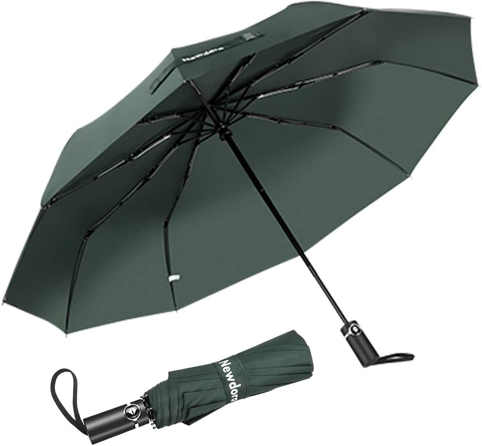 Newdora Paraguas Plegable Automático Impermeable 10 Armazones de Metal Compacto Resistencia contra Viento para Viaje para Hombres y Mujeres (Verde Claro)