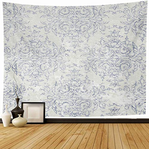Ahawoso Tapestry Wall Hanging 80x60 Distressed Blue Antiqued Taupe Navy Toile French Beige Delicate Filigree Aged Antique Dark Motif Home Decor Tapestries Decorative Bedroom Living Room Dorm