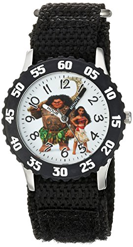 Disney Boy's 'Moana' Quartz Stainless Steel and Nylon Casual Watch, Color:Black (Model: WDS000032)