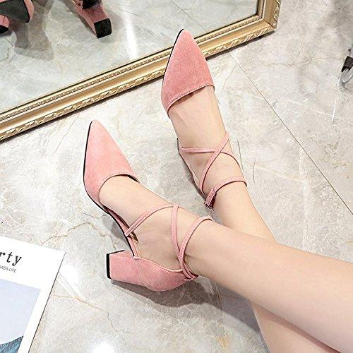 HRCxue Spitze Wild-Schuhe light-thick mit high-heeled Satin Wild-Schuhe Spitze mit Riemen Sandalen Frauen Sommer 35 f83973