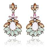 Teniu Retro Gemstone Agate Crystal Stud Earrings Fashion Tassel Earrings Cubic Zirconia Diamond Dangle Earrings