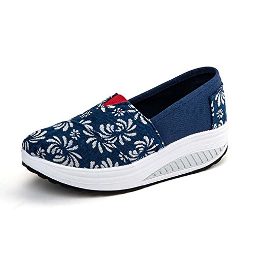 ANDAY Womens Summer Casual Canvas Shoes Thick Platform Wedges Sneakers Trainers Color 1 Q3Ivpr7a4