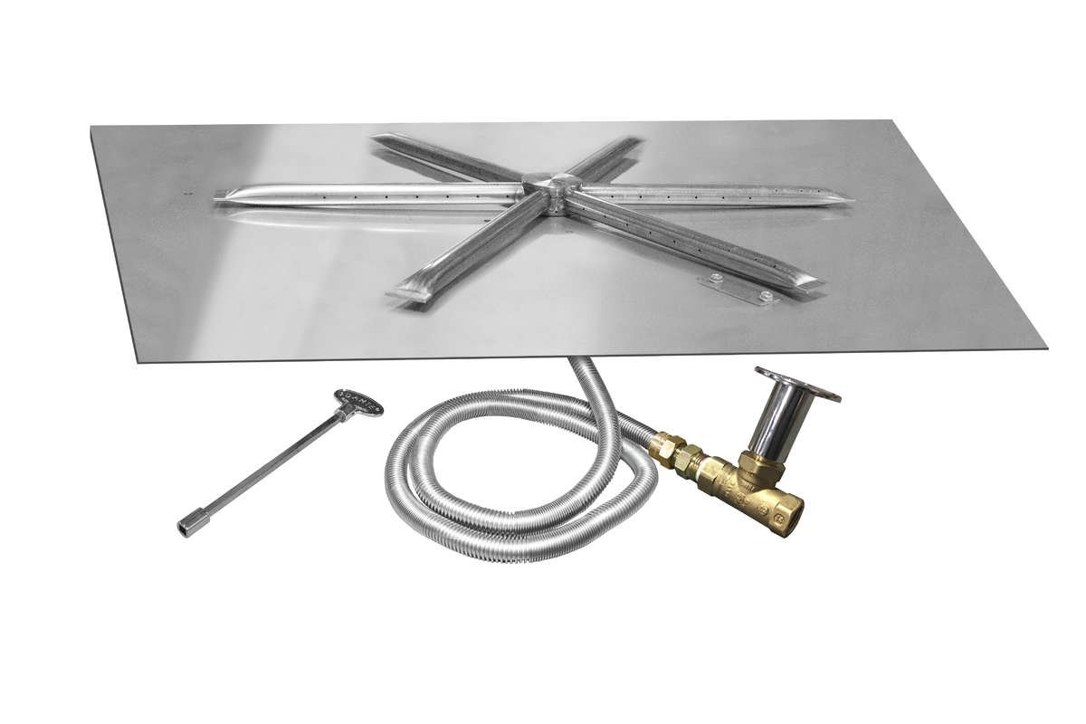 Firegear Match Light Gas Fire Pit Burner Kit (FPB-25SFBSMT-N), Square Flat Pan, 25 x 25-Inch, Natural Gas by Firegear