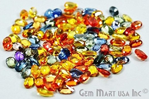 GemMartUSA 5 Carat Loose Multi Cut and Polish Sapphire, Mix Color Mix Shapes, Mix Gems, Mixed Gemstone 0.1 Ct Gemstones