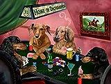 Home of Dachshund 4 Dogs Playing Poker Art Portrait Print Woven Throw Sherpa Plush Fleece Blanket (37x57 Sherpa)
