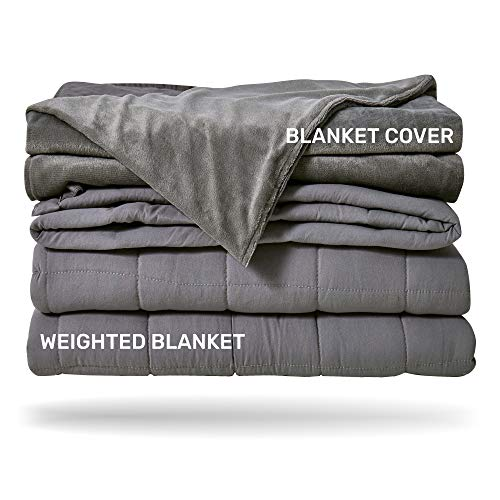 Cheap Sleep Mantra Cooling Weighted Blanket 20 lbs - Heavy Queen / Full Size Grey 2 Piece Set Glass Beads Filled Comfortable Sensory Blanket with Washable Cotton-Mink Cover Black Friday & Cyber Monday 2019