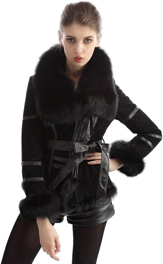 OLLEBOBO Femme de Manteau Mode en vraie Fourrure de renard