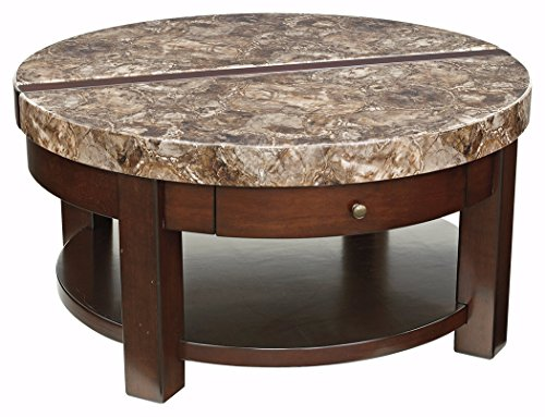 Ashley Furniture Signature Design   Kraleene Round Lift Top Coffee Table    1 Fixed Shelf