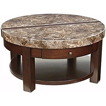 Amazoncom Ashley Furniture Signature Design Kraleene Round Lift - Ashley furniture coffee table with stools