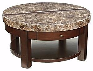 Ashley Furniture Signature Design   Kraleene Round Lift Top Coffee Table    1 Fixed Shelf   Contemporary Living   Dark Brown
