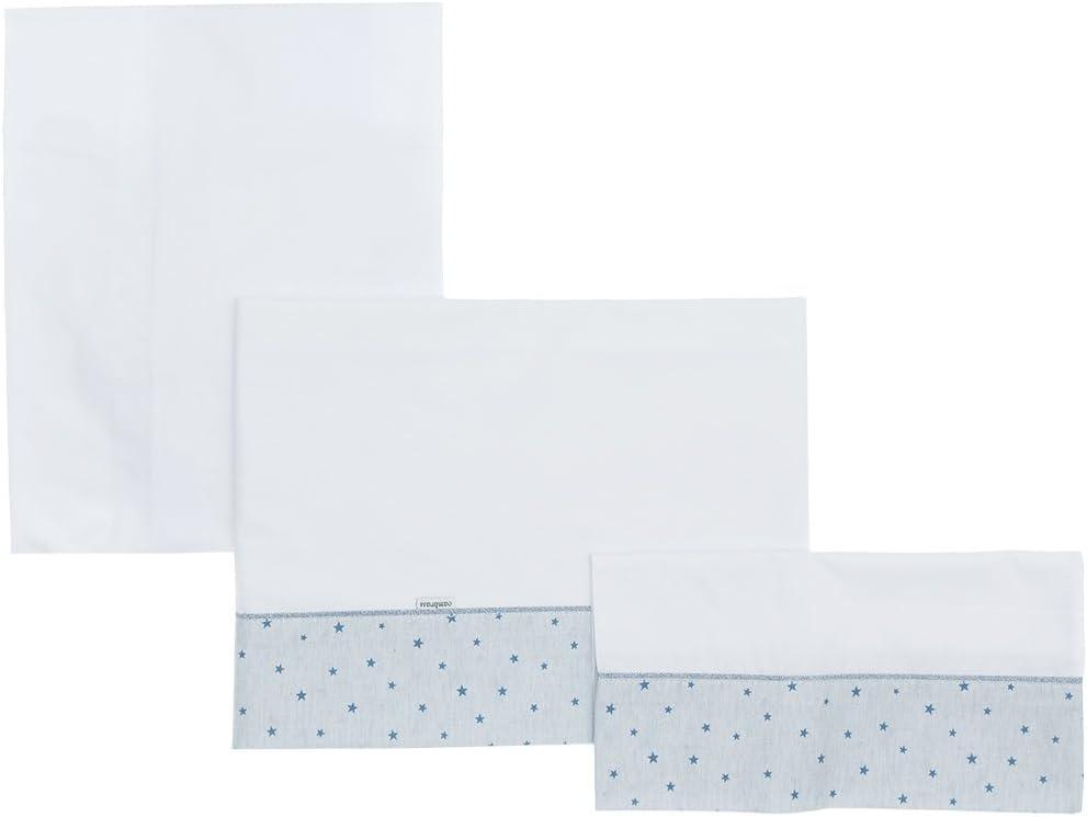 Cambrass Stela - Sábana para capazo, 3 piezas, 80 x 120 cm, color celeste