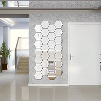 Hexagon Mirror Wall Sticker Sets, DIY Geometric Hexagon Mirror Wall Stickers, 3D Wall Stickers, Personalized Art Hexagonal Acrylic Mirror for Home Living Room Bedroom Decor, 16cm / 6.3inch, 12Pcs