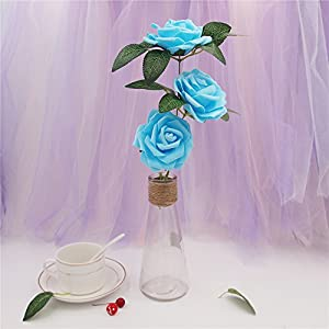 Noex Direct 30 PCS Artificial Flowr Rose Real Touch Artificial Roses for DIY Bouquets Wedding Party Baby Shower Home Decor - Blue 3