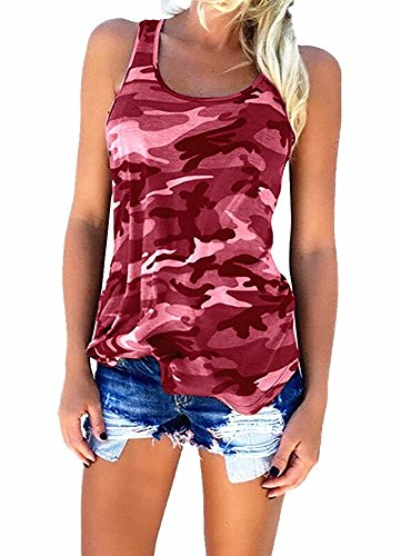 YJWAN Womens Camouflage Casual T Shirt Camo Sleeveless Tanks Top Vest and Short