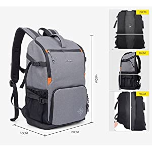 XSY Waterproof DSLR SLR Camera Backpack Bag for Canon Nikon Color Grey White