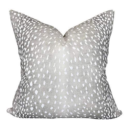 Funda de almohada de lino con diseno de Vern Yip Perth, color gris neutro y bl