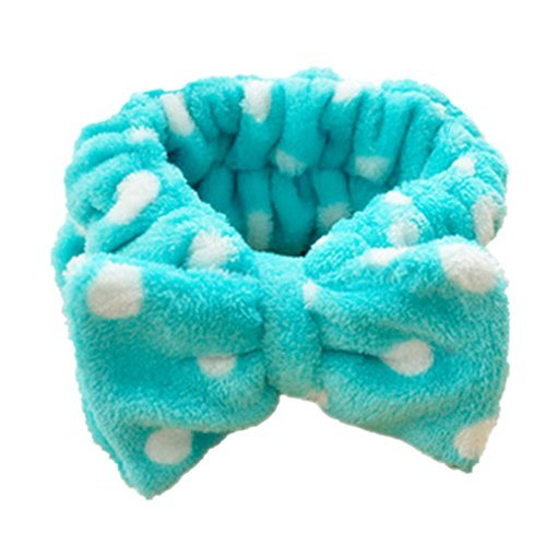 Little Hero Applique - Amazing Polka Dot Bowknots,Dealzip Inc Ladies Girls' Turquoise and White Stretch Headwrap Headband with Bow Tie appliques