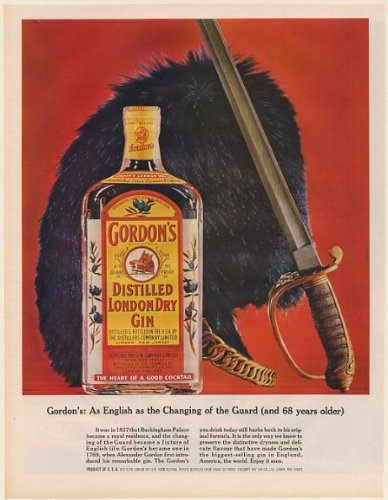 1964 Gordon's Distilled London Dry Gin As English as Changing of the Guard Print Ad (59954) (Gordons London Dry Gin)