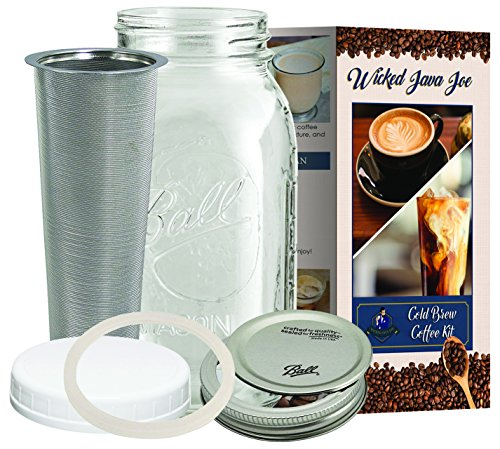 Large Cold Brew Coffee Maker - 2 Quart / 64 ounce Classic Ball Mason Jar and Durable Stainless Steel Filter Makes Amazingly Rich Cold Brew Iced Coffee and Tea from Wicked Java Joe