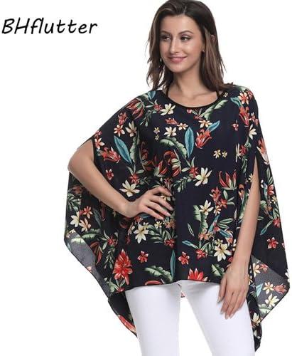 ASGHILL Boho Tallas Grandes Mujeres Batwing Blusa Camisa Casual Verano Flores impresión Gasa Blusas Tops Blusas: Amazon.es: Deportes y aire libre