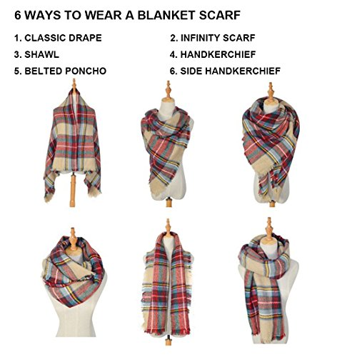 Women's Cozy Tartan Scarf Wrap Shawl Neck Stole Warm Plaid Checked Pashmina by Neal LINK (Image #1)