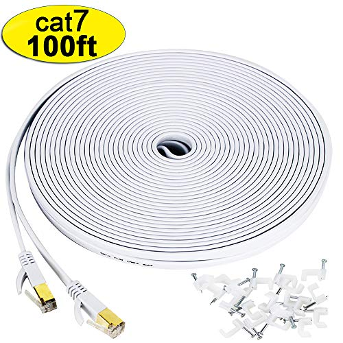 Cat 7 ethernet cable 100 ft, Wireless Outdoor Networking Patch cable with clips,Supports Cat6/Cat6a/Cat5 with Gold Plated RJ45 Connectors for Gaming,MAC,Desktop,ADSL,LAN-White -