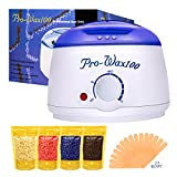 Cheap Boniss Hard Wax Warmer Hair Removal Waxing kit Electric Hot Heater Wax Melter with 15 Wax Applicator Sticks and 4 Flavors Hard Wax Beans 3.5 oz a Bag(Strawberry, Lavender,Milk,Chocolate)