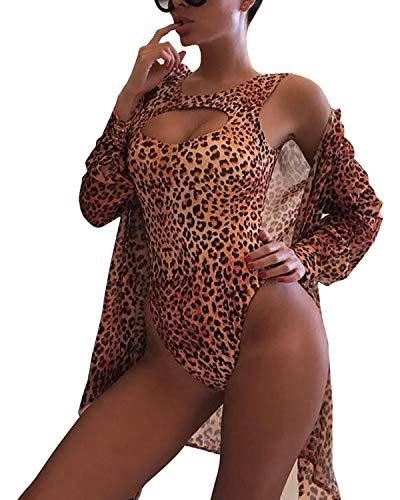 BIUBIU Swimwear with Cover Up Set,Women's Sexy Beach Party Monokini with Leopard Print Cover Up Shirt Orange X-Large