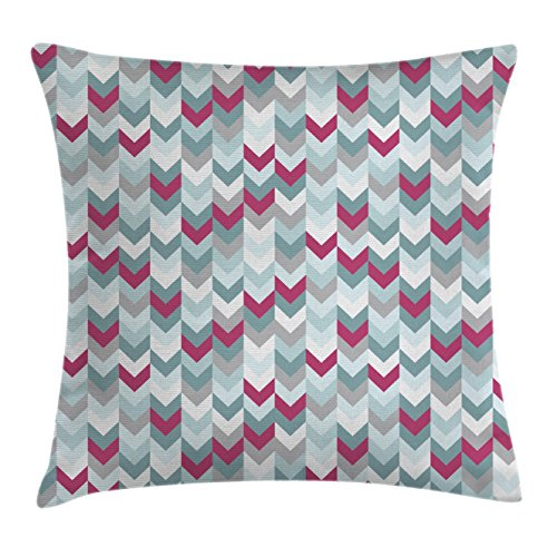 Ambesonne Chevron Throw Pillow Cushion Cover, Symmetric Stripes in Gradient Tone Arrows Classic Vintage Graphic, Decorative Square Accent Pillow Case, 20 X 20 Inches, Turquoise Light Grey Magenta