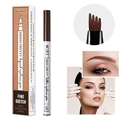 (   MIUSSAA Eyebrow Pencil Waterproof Long Lasting Liquid Eyebrow Tattoo Pen Makeup Soft Brow Gel (Color: 01. Chestnut))