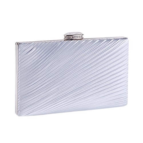 Detachable Classic Wallet Grey Women's with Square Clutch Hardbox Evening Dinner Pleated Chain Oxwn7q4g