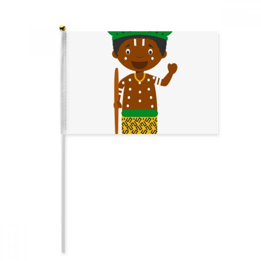 Black Wild Congo Cartoon Hand Waving Flag 8x5 inch Polyester Sport Event Procession Parade 4pcs