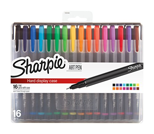 Sharpie Art Pens, Fine Point, Assorted Colors, Hard Case, 16 Count (1983966)