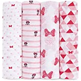 Aden by Aden and Anais Baby Muslin Swaddle with Disney Minnie Mouse Graphic, Multicolored, Pack of 4