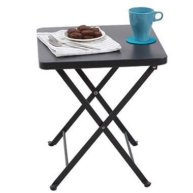 PHI VILLA Folding Metal Side Table Outdoor Patio Folding Bistro Table, Gray