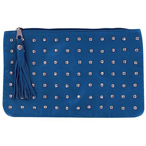 Unterarmtasche Blau Meer Leder mit Nieten