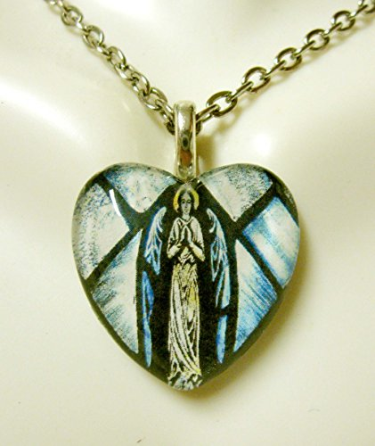Stained Glass Heart Pendant (blue angel stained glass widow heart pendant - GP05-107)