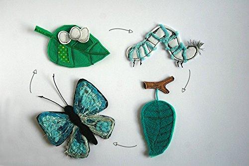 Butterfly life cycle felt playset, Handmade by TomToy, Felt butterfly, Homeschool Classroom materials, 2-12cm, Set of 4: leaf, eggs, caterpillar, pupa, butterfly
