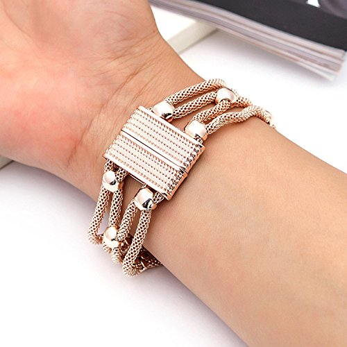 supply fashion simple hollow jewelry magnet buckle alloy rhinestone bracelet Yiwu Small Commodity,Rose gold by Yntmerry (Image #5)'