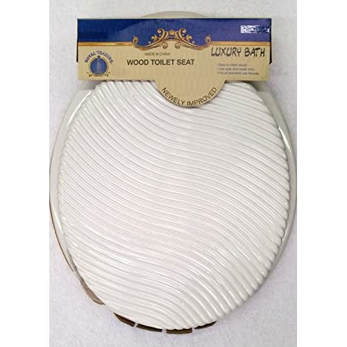 Round Standard Solid White Wave Wood Toilet Seat Closed Front Lid delicate