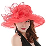 HEART SPEAKER Women's Church Derby Cap British Tea Party Wedding Hat-Red