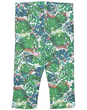 Organic Cotton Floral Capri Leggings: Green - 18m
