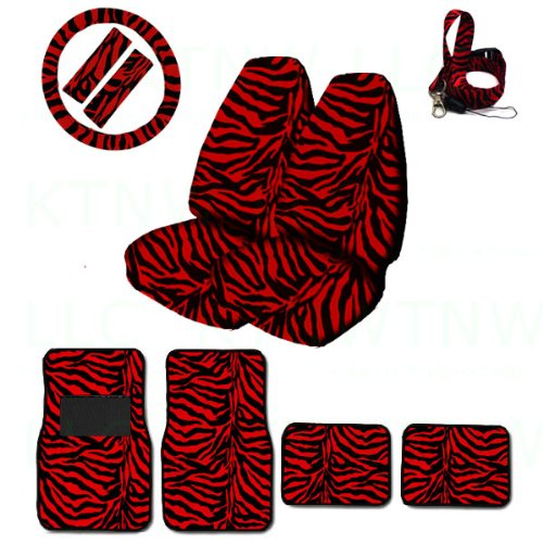 (A Set of Animal Print Front and Back Floor Mats, 2 High Back Seat Covers, Wheel Cover, 2 Shoulder Pads, and Lanyard Key Chain - Zebra Red - Zebra Red)