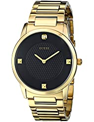 GUESS Mens Stainless Steel Diamond Dial Bracelet Watch, Color: Gold-Tone (Model: U0428G1)