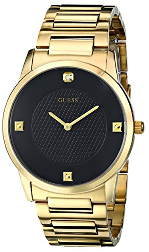 Black Diamond Dial Watch (GUESS Men's U0428G1 Sleek Gold-Tone Watch with Diamond Accented Black Dial)