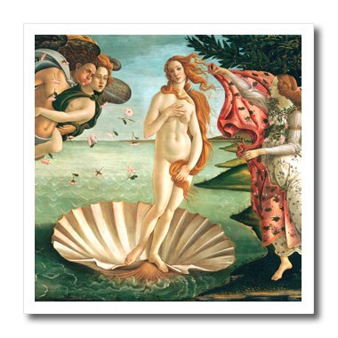 3dRose ht_162552_1 Botticelli The Birth of Venus 1485 Famous Classic Art Ocean Sea Shell Iron on Heat Transfer, 8 by (8 Inch Birth Plate)