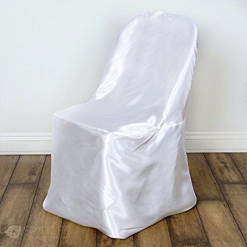 (Sparkles Make It Special 20 pc Satin Folding Chair Covers - Wedding Reception Banquet Party Restaurant - White)