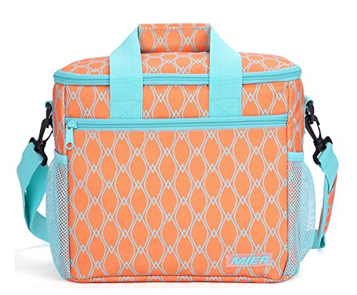 MIER 24-can Large Capacity Soft Cooler Tote Insulated Lunch Bag Outdoor Picnic Bag, (Leak Proof Peva Lining)