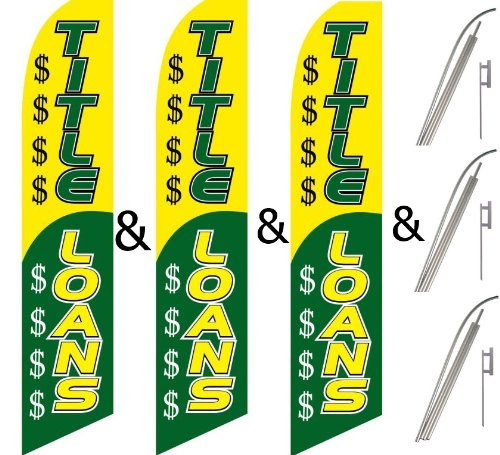 Pack Swooper Flags /& Pole Kits TITLE LOANS Yellow Green with $$$ Pics Three 3